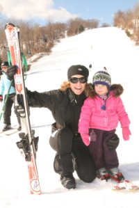 Family skiing at Mount Southington