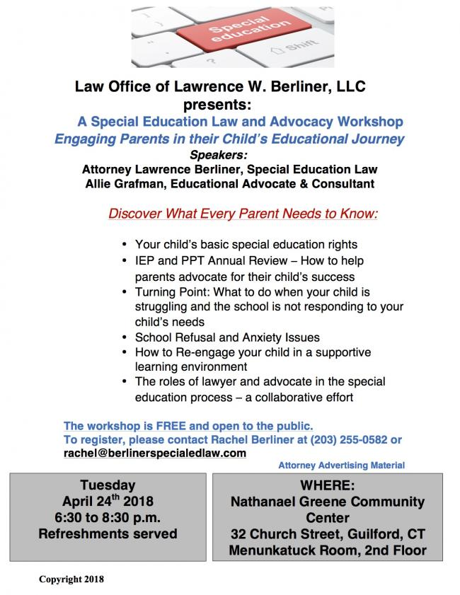The Role Of Special Education Advocate >> Special Education Law And Advocacy Parent Workshop In
