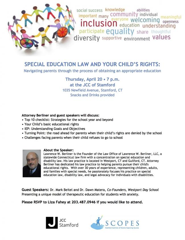 Important Special Education Rights That >> Stamford Jcc Special Education Law And Your Child S Rights Workshop